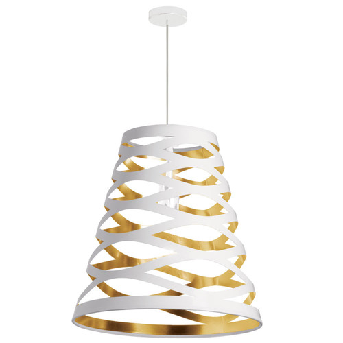 Dainolite Lighting  CUT22-692 1 Light Pendant with White on Gold Shade
