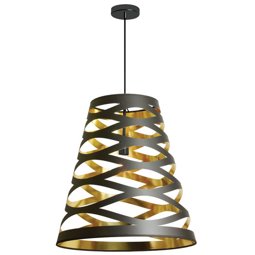 Dainolite Lighting  CUT22-698 1 Light Pendant with Black on Gold Shade