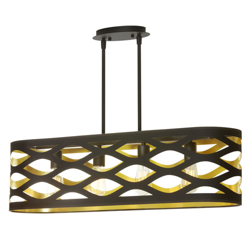 Dainolite Lighting  CUT-334HP-698 4 Light Horizontal Pendant, Matte Black, Cut Out Oval Shade, Black On Gold