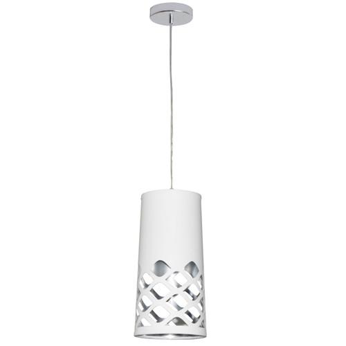 Dainolite Lighting  CUT-P-691 1 Light Pendant with White on Silver Shade