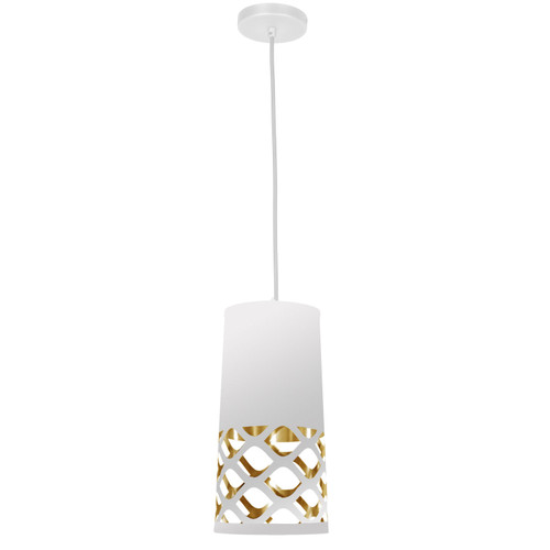 Dainolite Lighting  CUT-P-692 1 Light Pendant with White on Gold Shade