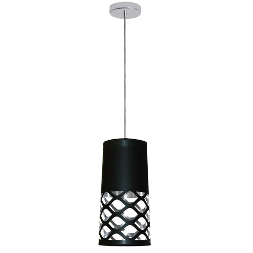 Dainolite Lighting  CUT-P-697 1 Light Pendant with Black on Silver Shade