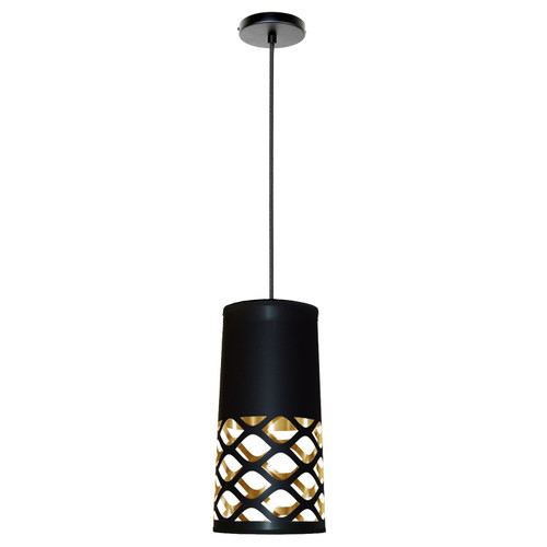 Dainolite Lighting  CUT-P-698 1 Light Pendant with Black on Gold Shade