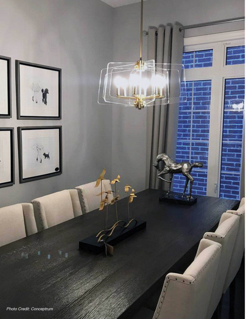 Dainolite Lighting  CWR-206C-AGB-CLR 6 Light Incandescent Chandelier Aged Brass Finish with Acrylic Arms
