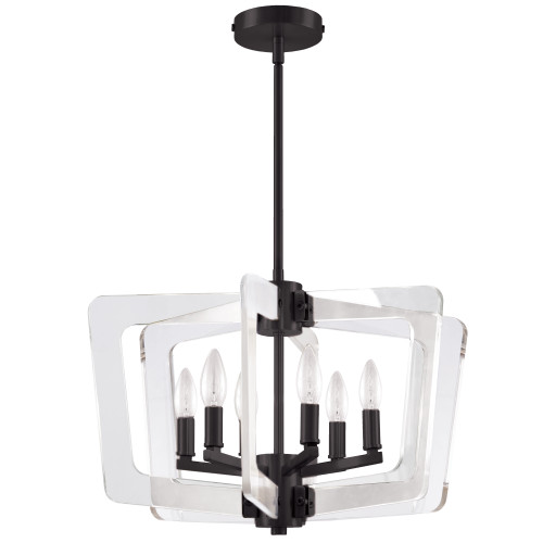 Dainolite Lighting  CWR-206C-MB-CLR 6 Light Incandescent Chandelier, Matte Black with Acrylic Arms