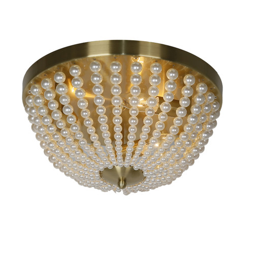 Dainolite Lighting  DAW-143FH-AGB-WH 3 Light Incandescent Flush Mount Aged Brass Finish with Pearls
