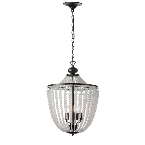 Dainolite Lighting  DAW-175C-MB-FR 5 Light Incandescent Chandelier Matte Black Finish with Frosted Beads