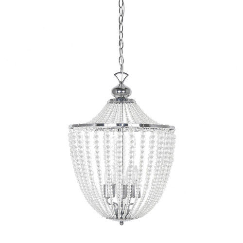 Dainolite Lighting  DAW-175C-PC-CLR 5 Light Incandescent Chandelier Polished Chrome Finish with Clear Glass Beads