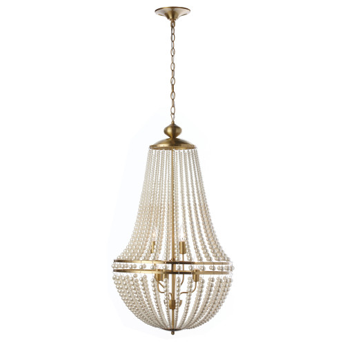 Dainolite Lighting  DAW-386C-AGB-WH 6 Light Incandescent Chandelier Aged Brass Finish with Pearls
