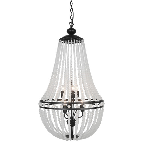 Dainolite Lighting  DAW-386C-MB-FR 6 Light Incandescent Chandelier Matte Black Finish with Frosted Beads