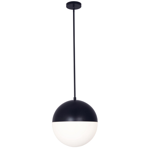 Dainolite Lighting  DAY-143P-MB 3 Light Halogen Pendant, Matte Black Finish with White Glass