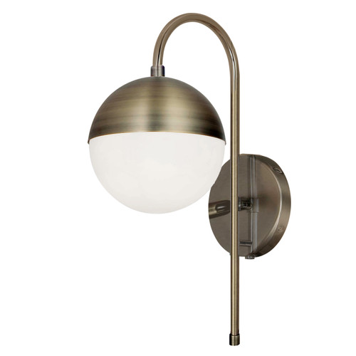 Dainolite Lighting  DAY-71W-AB 1 Light Halogen Sconce, Antique Brass with White Glass, Hardwire and Plug-In
