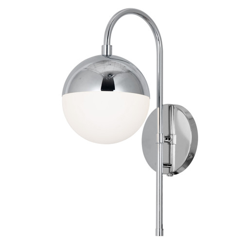 Dainolite Lighting  DAY-71W-PC 1 Light Halogen Wall Sconce, Polished Chrome with White Glass, Hardwire and Plug-In
