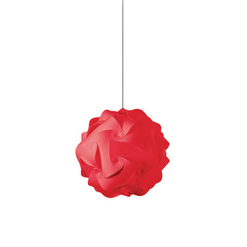 Dainolite Lighting  DBL-S-795 1 Light Pendant, Polished Chrome Finish, Red Fabric