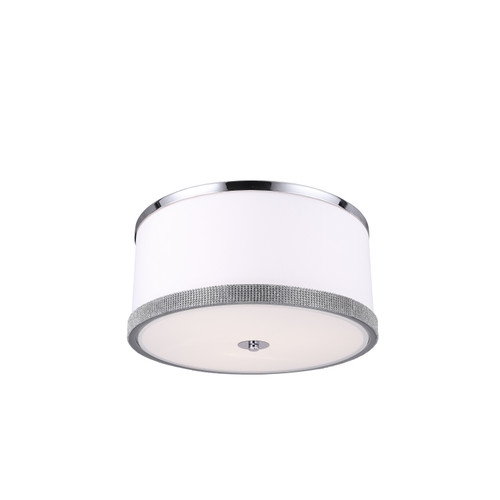 Dainolite Lighting  DEV-153FH-PC 3 Light Flush Mount, Polished Chrome Finish, White Shade with Crystal Studded Band