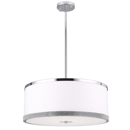 Dainolite Lighting  DEV-204P-PC 4 Light Pendant, Polished Chrome Finish, White Shade with Crystal Studded Band