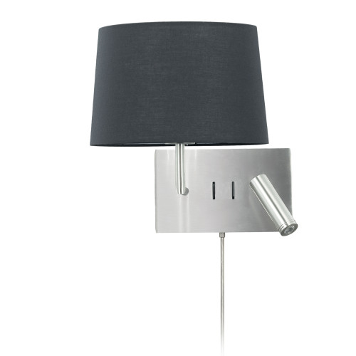 Dainolite Lighting  DLED233-W-SC-BK 1 Light Incandescent Wall Scone with 3W Reading Light , Satin Chrome with Black Shade