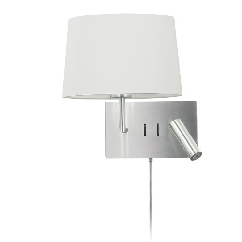 Dainolite Lighting  DLED233-W-SC-WH 1 Light Incandescent Wall Scone with 3W Reading Light , Satin Chrome with White Shade