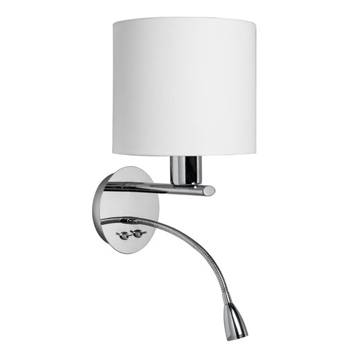 Dainolite Lighting  DLED410-W-PC Wall Sconce with Gooseneck LED Reading Lamp, Polished Chrome, White Fabric Shade 195F