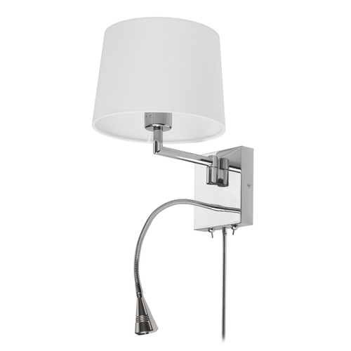 Dainolite Lighting  DLED426A 1 Light Swing Arm & 1 Downlight LED Wall Sconce, Polished Chrome Finish with White Shade