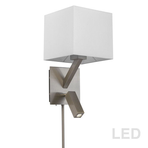 Dainolite Lighting  DLED496-SC 1 Light, 1 Downlight  LED Wall Sconce, Satin Chrome Finish with White Shade