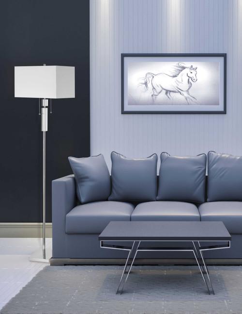 Dainolite Lighting  DM231F-PC Crystal Floor Lamp, Polished Chrome, White Linen Rectangular Shade