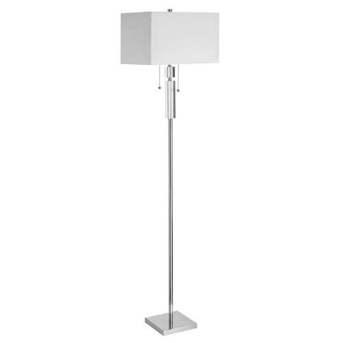 Dainolite Lighting  DM231F-PC Crystal Floor Lamp, Polished Chrome, White Linen Rectangular Shade