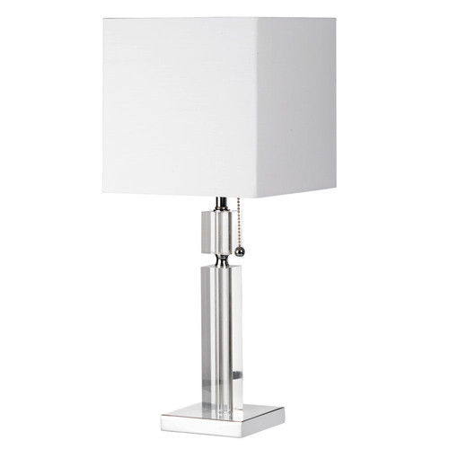 Dainolite Lighting  DM231-PC Crystal Table Lamp, Polished Chrome, Square White Linen Shade