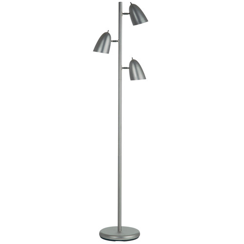 Dainolite Lighting  DM330F-SC 3 Light Floor Lamp, Painted Satin Chrome, Adjustable Heads