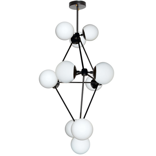 Dainolite Lighting  DMI-3612C-WHBK 12 Light Chandelier, Black Finish, White Glass