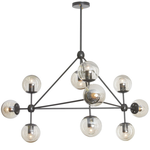 Dainolite Lighting  DMI-4410C-BK 10 Light Triangular Chandelier, Matte Black Finish, Cognac Glass