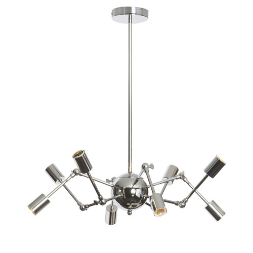 Dainolite Lighting  DRS-288C-PC 8 Light Chandelier With Adjustable Arms, Polished Chrome Finish