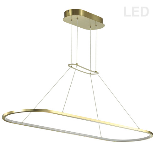 Dainolite Lighting  DTA-4046LEDHP-AGB 46W Horizontal Pendant, Aged Brass with White Diffuser
