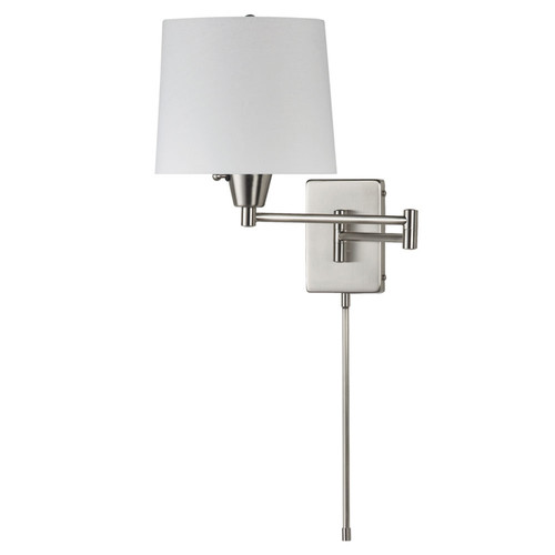 Dainolite Lighting  DWL80DD-SC Swing Arm Wall Lamp, Satin Chrome, White Linen Shade 195F