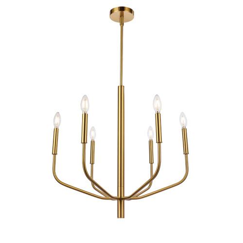Dainolite Lighting  ELN-246C-AGB 6 Light Incandescent Chandelier, Aged Brass