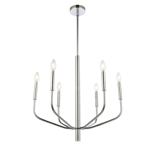 Dainolite Lighting  ELN-246C-PC 6 Light Incandescent Chandelier, Polished Chrome