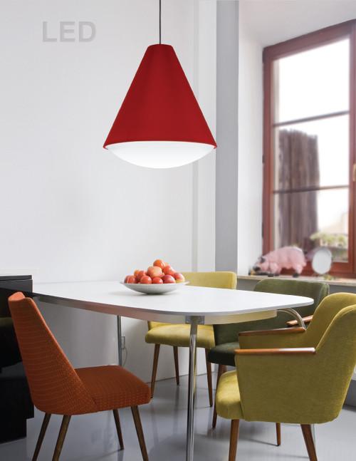 Dainolite Lighting  EMLED-13P-RD LED Pendant Empire Shade, Red