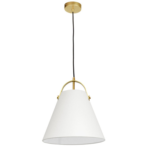 Dainolite Lighting  EMP-111P-719-AGB 1 Light Emperor Pendant Aged Brass with Off White Shade