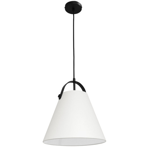 Dainolite Lighting  EMP-111P-719-MB 1 Light Emperor Pendant Matte Black with Off White Shade