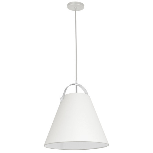 Dainolite Lighting  EMP-111P-719-WH 1 Light Emperor Pendant White with Off White Shade