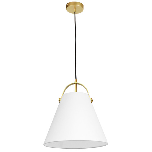 Dainolite Lighting  EMP-111P-790-AGB 1 Light Emperor Pendant Aged Brass with White Shade