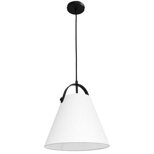 Dainolite Lighting  EMP-111P-790-MB 1 Light Emperor Pendant Matte Black with White Shade