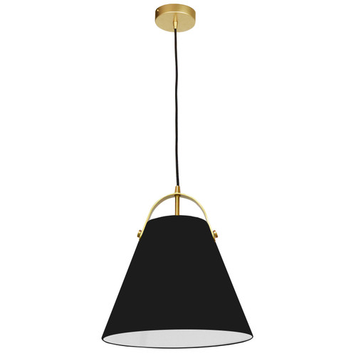 Dainolite Lighting  EMP-111P-797-AGB 1 Light Emperor Pendant Aged Brass with Black Shade