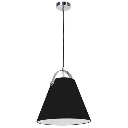 Dainolite Lighting  EMP-111P-797-PC 1 Light Emperor Pendant Polished Chrome with Black Shade