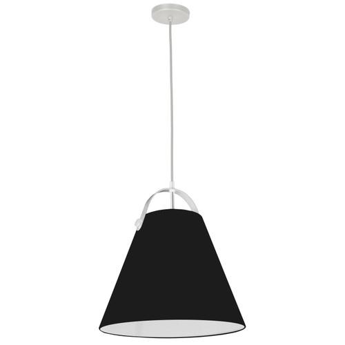 Dainolite Lighting  EMP-111P-797-WH 1 Light Emperor Pendant White with Black Shade