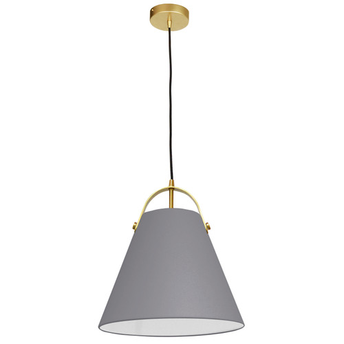 Dainolite Lighting  EMP-111P-835-AGB 1 Light Emperor Pendant Aged Brass with Grey Shade