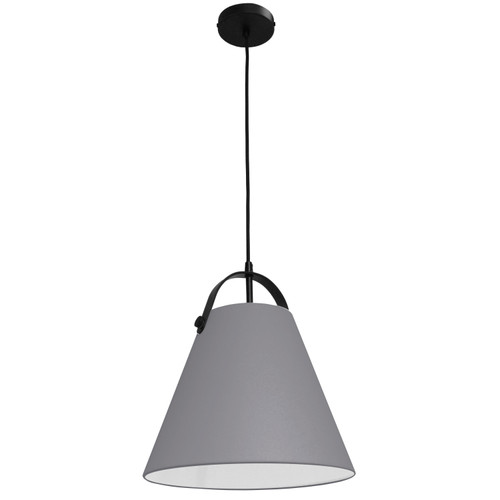Dainolite Lighting  EMP-111P-835-MB 1 Light Emperor Pendant Matte Black with Grey Shade
