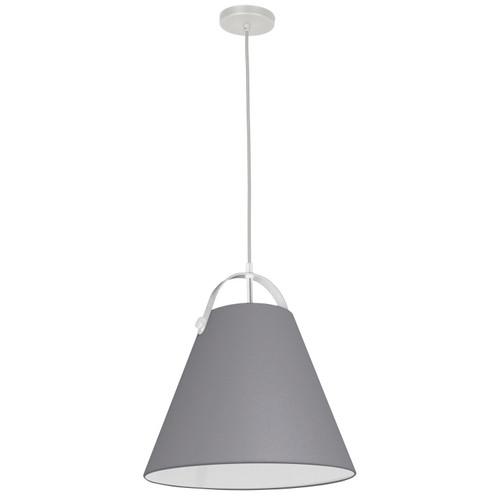 Dainolite Lighting  EMP-111P-835-WH 1 Light Emperor Pendant White with Grey Shade