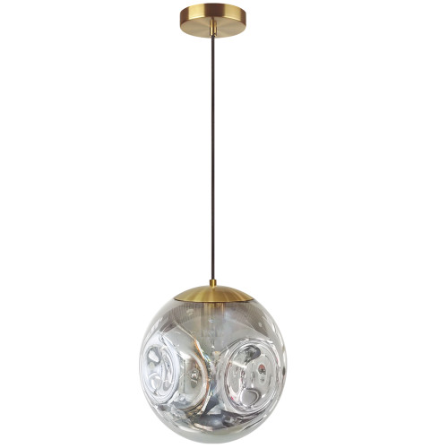 Dainolite Lighting  ERS-101P-AGB-SM 1 Light Incandescent Pendant, Aged Brass Finish with Smoked Glass