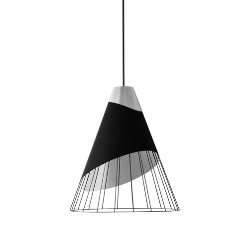 Dainolite Lighting  FAR-1619-697 1 Light Black Pendant with Steel Fabric Cap and Black on Silver Hardback Shade